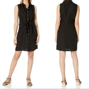 NWT Three Dots Linen Button Up Tie Front Dress M